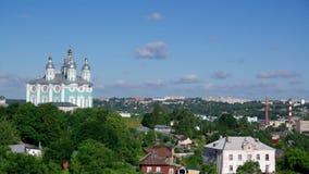 Landmark of smolensk, Russia. Belfry in Monastery landmark of smolensk, Russia stock footage