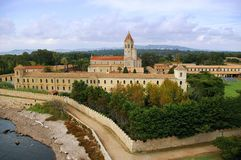 French Riviera, the Lerins Islands: abbey Saint-Honorat. Landmark  of southern France. French Riviera, the Lerins Islands:  abbey Saint-Honorat Royalty Free Stock Photography