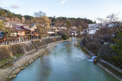 Landmark of Takayama. TAKAYAMA, JAPAN - MARCH 25, 2016 : Landmark of Takayama, red bridge taken March 25, 2016. Takayama is old town which is register as world Royalty Free Stock Images