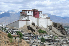 Landmark in Tibet. Here the Shigatse Dzong in Shigatse is shaped like the Potala palace in Lhasa Stock Photo