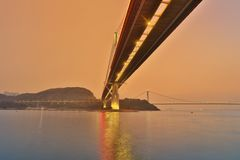 .the Ting Kau bridge at ngau lan tsui. Landmark of Ting Kau at west of Hong kong Stock Photography