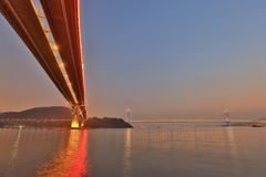The Ting Kau bridge at ngau lan tsui. Landmark of Ting Kau at west of Hong kong Stock Photos