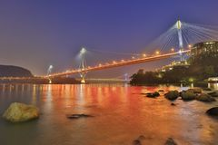 Hong Kong Ting Kau bridge at night. Landmark of Ting Kau at west of Hong kong Stock Images