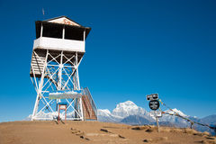 Landmark at the top of Poonhill peak, Nepal Royalty Free Stock Images