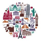Landmark travel icons in the form of a circle Royalty Free Stock Photo