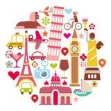 Landmark Travel - round vector illustration Royalty Free Stock Photography