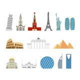 Landmark travel set. Architectural monuments. Known state of bui Stock Images