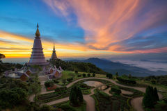 Landmark twin pagoda in doi Inthanon national park. With sunrise and morning mist at Chiang mai, Thailand stock photo