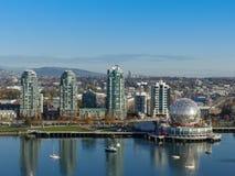 Landmark Vancouver science world tall towers aerial Canada Nov 2017 stock image