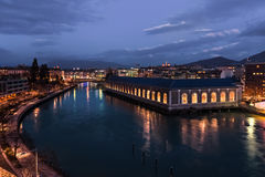 Landmark with view on Geneva and Rhone river. Stock Photos