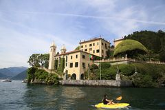 Villa del Balbianello overlooking Lake Como. A landmark villa in Italy stock photo