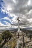 Landmark of walkway towards great crucifix in Jaen, Spain Royalty Free Stock Images