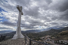 Landmark of walkway towards great crucifix in Jaen, Spain Stock Photo
