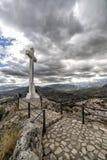 Landmark of walkway towards great crucifix in Spain Stock Images