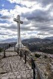 Landmark of walkway towards great crucifix, Spain Royalty Free Stock Image