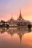 Landmark of wat thai with shadow reflection, sunset in temple at Wat None Kum. In Nakhon Ratchasima province Thailand Royalty Free Stock Photos