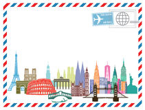 Landmarks on an airmail letter Stock Images