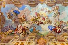 Landmarks of Austria - abbey Melk, fresco over ceiling. Beautiful fresco over ceiling,abbey Melk,Austria royalty free stock photos