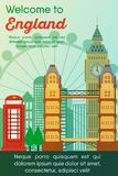 Travel destinations card. Trip to England. Landmarks banner in vector. Travel destinations card. Trip to England. Landscape template of world places of interest vector illustration