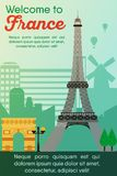 Travel destinations card. Trip to France. Landmarks banner in vector. Travel destinations card. Trip to France. Landscape template of world places of interest royalty free illustration