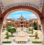 Landmarks of Barcelona. Hospital de la Santa Creu i Sant Pau complex, the world`s largest Art Nouveau Site in Barcelona, Spain stock images