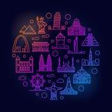 Landmarks colorful illustration Royalty Free Stock Photography