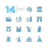 Landmarks - coloured modern single line icons set Royalty Free Stock Photos