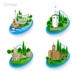 Landmarks of Crimea. Set of color icons. Vector illustration Royalty Free Stock Image