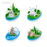 Landmarks of Crimea. Set of color icons. Vector illustration Royalty Free Stock Images