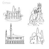 Landmarks of Crimea. Set of icons Stock Images