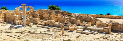 Landmarks of Cyprus island - ancient Kourion archaeological site. Ancient archeological site in Cyprus island,Kourion stock image
