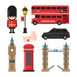 Landmarks and different culture objects of london. Travel landmark england culture and tourism. Vector illustration Stock Images