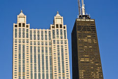 Landmarks of Downtown Chicago. Against blue sky royalty free stock photo