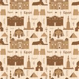 Landmarks of Egypt seamless pattern Stock Images