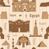 Landmarks of Egypt seamless pattern Stock Photo