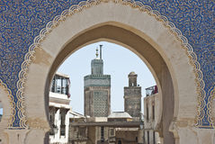 Landmarks in Fes. Part of the Blue Gate and minarets in Fes (Morocco Stock Photos
