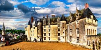 Landmarks of France- castles of Loire valley - impressive Langea Royalty Free Stock Images
