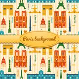 Landmarks of France colorful seamless pattern Royalty Free Stock Photos