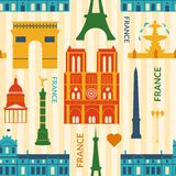 Landmarks of France colorful seamless pattern Royalty Free Stock Image