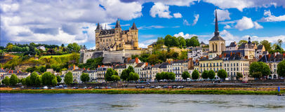 Landmarks of France-panorama of Saumur town with royal castle. Royalty Free Stock Images