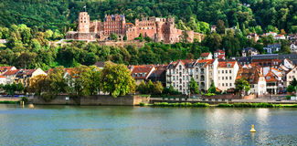 Landmarks of Germany - medieval Heidelberg town, view with castl Royalty Free Stock Photography
