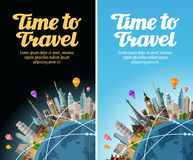 Landmarks on the globe. Travel to world. Journey, trip. Vector illustration Royalty Free Stock Photos