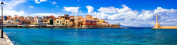 Landmarks of Greece - beautiful venetian town Chania in Crete  Stock Photos