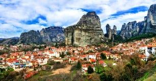 Landmarks of Greece - unique Meteora rocks. view of Kalambaka vi Royalty Free Stock Photo