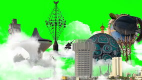 Landmarks with green screen close up Royalty Free Stock Images