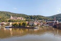 Landmarks of Heidelberg. Heidelberg, Germany - July 16, 2015: View of Heidelberg Palace, Old Bridge and Old Town of Heidelberg Royalty Free Stock Photos