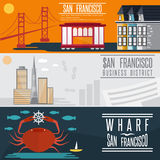 Landmarks horizontal flat design vector banners Royalty Free Stock Images