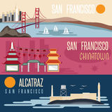 Landmarks horizontal flat design vector banners Royalty Free Stock Photography