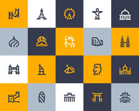 Landmarks icons. Flat style Royalty Free Stock Photos