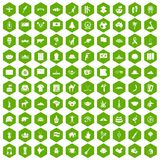 100 landmarks icons hexagon green. 100 landmarks icons set in green hexagon isolated vector illustration Stock Photo